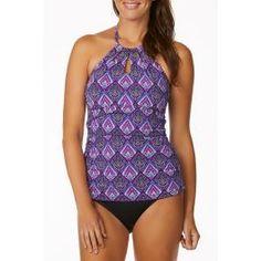6cfb40e2bce1a Leilani Women's Villa Bella Tahiti High Neck Tankini Swim Top