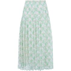 Christopher Kane Light Green Pleated Lace Midi Skirt (£750) ❤ liked on Polyvore featuring skirts, bottoms, knee length pleated skirt, high-waisted midi skirts, light green skirt, green pleated skirt and high waisted pleated skirt