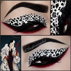 AHHHH this is so killer! Luciferismydad used Sugarpill Love+ and Bulletproof eyeshadows over a white NYX milk base to create this wicked Cruella Deville look.