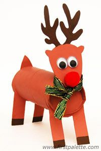 Toilet Paper Tube Reindeer  Make a Christmas reindeer using a toilet paper tube and cardboard.
