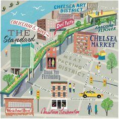 Anna Simmons - New York Highline map for Cara magazine