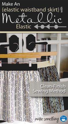 Sewing Tutorial: Make an Elastic Waist Skirt using Clean Finish Method & Dritz elastic