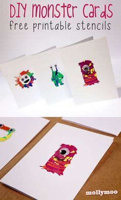 DIY Monster Cards with Free Printable Stencils - perfect for Halloween, Birthdays or just fun and googly eye notes between friends | MollyMoo