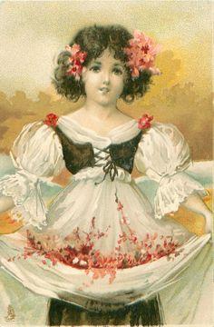 pretty girl in white dress, black top,holds flowers in skirt, gilt behind