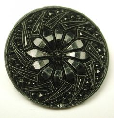 Antique Black Glass Button Fancy Faceted Pinwheel Floral Design | eBay