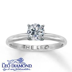 Handcrafted by the artisans at Leo Schachter, this sensational diamond solitaire engagement ring features a 3/4 carat round diamond set in 14K white gold. The Leo Diamond® is independently certified and laser-inscribed with a unique Gemscribe® number.