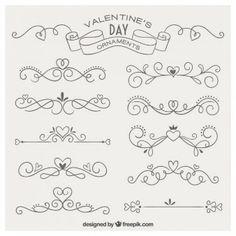 Ornamentos desenhados mão adoráveis para dia dos namorados