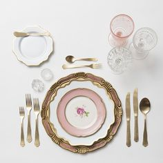 RENT: Florentine Chargers in Rose/Gold + Anna Weatherley Dinnerware in White/Gold + Pink Botanicals Vintage China + Chateau Flatware in Matte Gold + Pink Vintage Goblets + Early American Pressed Glass Goblets + Vintage Champagne Coupes + Antique Crystal Salt Cellars  SHOP:Anna Weatherley Dinnerware in White/Gold