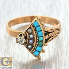 700 one of the nicest 1880s Antique Victorian 14k Solid Rose Gold Turquoise Pearl Diamond Ring