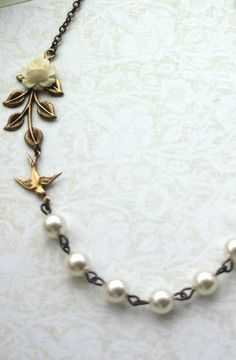 Gorgeous! Small Creamy Ivory Rose Bud Flower, Brass Leaf, Ivory Pearls Necklace. Bridesmaids Gifts. Vintage Cottage Themed Wedding. Ivory Wedding.