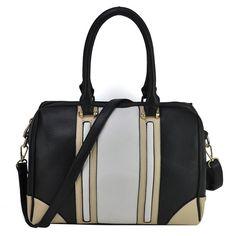 Black, beige and white patchwork bowler bag with removable shoulder strap Gym Bag, Shoulder Strap, Beige, Handbags, Contrast Color, Black, Scrappy Quilts, Totes, Black People