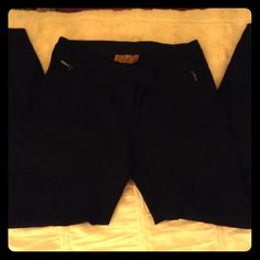 Nicole Miller Black Skinny Pants Pants are in excellent condition. They are difficult to photograph but have fake back pockets as well as side pockets. They have front zippered pockets and they gather at the bottom. Towards the bottom they are two-toned (all in black) and almost look like riding pants Nicole Miller Pants Skinny
