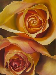 """Two Roses"" original oil by Brenda Semanick 36x48"