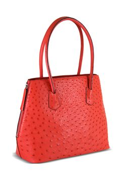 Via La Moda Two Way Bag Genuine Ostrich Leather