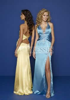 Sexy V neck with Halter in Sheath Slit Dress Blue Custom Made Wholesale Evening Dress