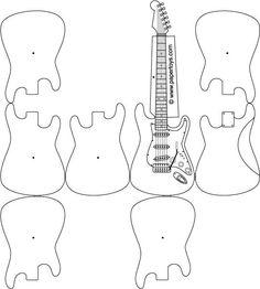 Jimi Hendrix Guitar - Free paper cut-outs at PaperToys.com