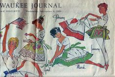 """Wednesday, September the Milwaukee Journal ran an article in the Women's Pages and Society section entitled """"A Calendar of Aprons. Modern Aprons, September 9, Poster Ads, Pin Cushions, Challenges, Let It Be, Homestead, Potholders, Milwaukee"""