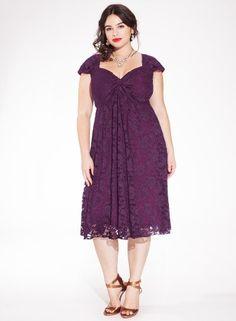 Rachelle Plus Size Lace Dress in Plum