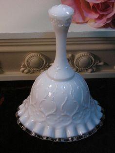 Vintage Fenton White Milk Glass Silver Crest