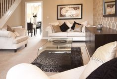 Show Home Lounge - Inspirational Shot - cream sofas and neutral accent colours - very luxurious colours Glam Living Room, Living Room White, Living Room Colors, Home And Living, Living Room Designs, Living Room Decor, Living Spaces, Living Rooms, Barratt Homes Interiors