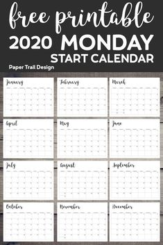2020 Calendar Monday Start Paper Trail Design Free Printable 2020 Calendar Monday Start January February March April May June July August September October November De. Printable Calendar 2020, Make A Calendar, Monthly Calendar Template, Printable Planner, Free Printables, Print Calendar, Planner Template, Desktop Calendar, Free Calendar