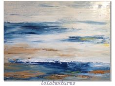 """Large abstract art  seascape painting , metallic accents  Textured art palette knife Titled """"Freedom"""" Original Painting by Pauline Mustaikis"""