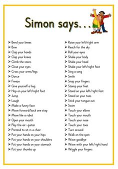 Simon says... Printable ideas for playing Simon Says. Great for Brain Breaks