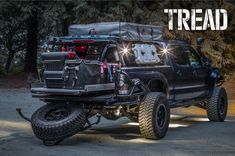 Ready for whatever in this fully loaded Toyota Tacoma. The beginning of another off-road adventure. Toyota Autos, Toyota Tacoma 4x4, Tacoma Truck, Toyota Trucks, Jeep Truck, Ford Trucks, Toyota 4runner, Overland Truck, Expedition Truck