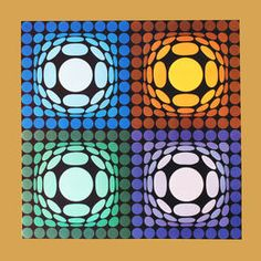Victor Vasarely -  Vega-Bi-Arct Original Framed Print