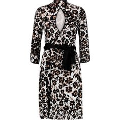 Diane von Furstenberg Printed silk-jersey wrap dress ($330) ❤ liked on Polyvore featuring dresses, ivory, loose fit dress, diane von furstenberg, loose fitting dresses, black ivory dress i loose black dress