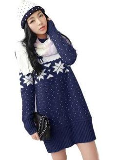 Juniors Blue Winter Snow Reindeer Pattern Christmas Sweater Dress