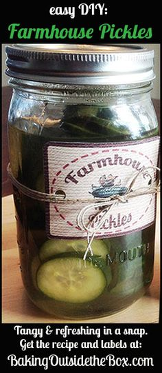 Baking Outside the Box: Easy DIY recipe for Farmhouse Pickles. Make them in the morning and serve them by lunchtime. Crisp and tangy.