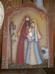 PESEBRE DE LA NAVIDAD....❤ Nativity Church, Christmas Nativity, Christmas Deco, Arte Country, Pintura Country, Country Paintings, Paintings I Love, Christmas Arts And Crafts, Tole Painting Patterns