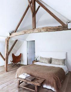 Rustic raw wood bedroom