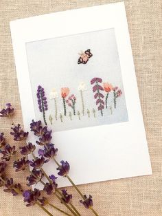 Embroidered Summer Hedgerow Card for Birthday. Get Well. Thank you Cross Stitch Cards, French Knots, Get Well Cards, Satin Stitch, Embroidered Flowers, Poppies, Daisy, Birthdays, Butterfly
