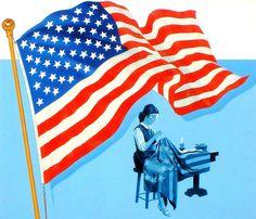 American Art: Flag History Poster - Vintage Illustration Art Original Gouache