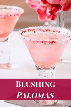 Blushing Paloma cocktail - a tasty margarita alternative. This tequila cocktail recipe is so refreshing and bright, easy to make - and the blush color is gorgeous!  via /dellcovespices/
