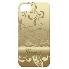 Gold on Gold Floral Swirls Monogram iPhone5