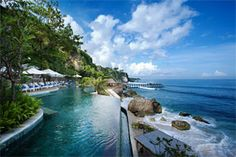The infinity pool at the Ritz-Carlton Jimbaran Bay, and one of the best views of Bali.
