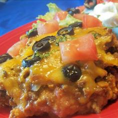 Taco Casserole @keyingredient #cheese #cheddar #tomatoes #casserole