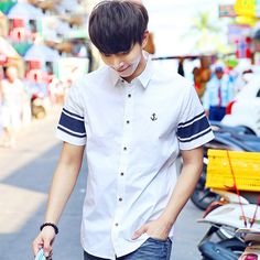 cool Summer male short-sleeve shirt casual fashion trend of the men's personalized clothing shirt stripe shirt top