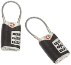 Tim Ferris recommended. TWO pack of TSA approved locks. Good deal. One for Macey, one for Me!! Amazon.com: Lewis N. Clark Tsa Cable Lock 2 Pack,Black,One Size: Clothing