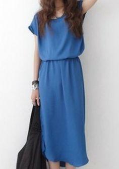Blue Round Neck Short Sleeve Ruffles High Low Chiffon Dress