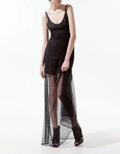 vestito lungo trasparente zara