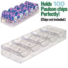 10 Acrylic Poker Chip Racks - Fits Paulson Chips . $41.11. This 67.7mm Clear Acrylic Poker Chip Rack is great for storing or organizing 100 poker chips. This rack is made for American made chips notably Paulsons, which are slightly thinner than the chips produced in China. These racks make for easy handling of chips. Full poker chip trays will stack one on top of the other for great storage. These trays work great alone or inside of an acrylic poker chip carrier.  This rack...