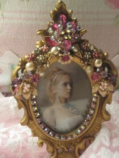 Gorgeous ornate Vintage Jeweled Picture frame