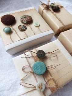Older And Wisor: Kraft Krush Day 6: Wrapping With Fabric, Twine, Lace & Buttons