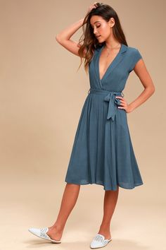fbdd2f5e9c462 Keep the love letters coming with the Always Adored Denim Blue Surplice Midi  Dress! This