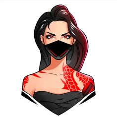 Cartoon Girl Images, Girl Cartoon, Logo Free, Gaming Logo, Avatar Cartoon, Fire Image, Game Logo Design, Mileena, Fire Art