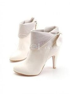 Cream-colored 8cm High Heel PU Ankle Boots  $39.99